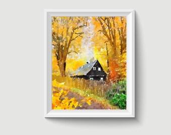 Landscape Watercolor Painting Art Printable Q237