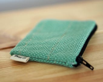 Wallet woven green and gold - weaving Karu