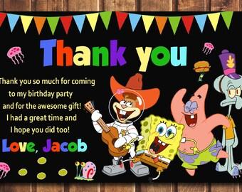 Spongebob thank you card, Spongebob Birthday thank you card, Spongebob, Spongebob Printable, Spongebob Card, Spongebob-digital file c