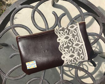 Reclaimed leather pouch