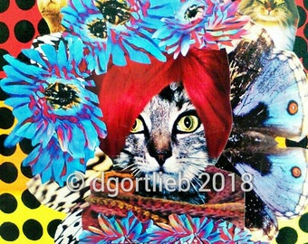 16 x 20 framed cat art print, cat art, cat art print, cat lover gift, cat print, cat wall art, pet art,  Framed art print