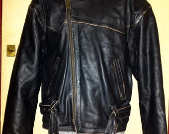Old Vintage 60's Pilot Flying Jacket B-72 Very Rare Black Leather size XXL