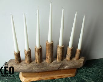 Menorah Candle Holder, Menorah Seven Candle holder, Menorah Candlestick, Home Decor, Driftwood Candle Holder
