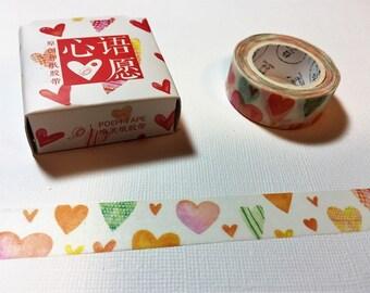 Multicolored Heart Washi | Washi Tape | Valentine Tape | Valentine's Washi | Heart