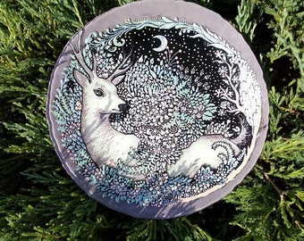 Beautiful Plate Christmas Hand painted Rustic Styl Decorative plate Home gifts Thanksgiving Day Kitchen Decor Plate glass Gift for her Deer