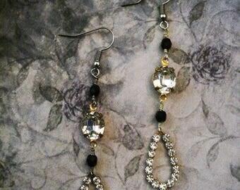 Rhinestone and Czech Beaded Earrings