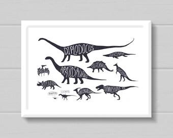 Dinosaur Print // Kids Print // Monochrome Print // Childrens Print // Nursery // Dinosaur // Poster // A4