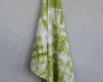 Shibori Tie-Dyed Cotton Flour Sack Towel Bright Avocado Green, Lime Green