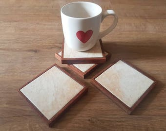 Reclaimed oak and stone tile drinks coasters set of 4. Very limited amount