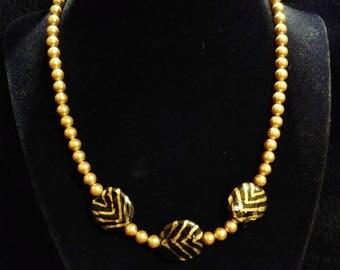 Gold and Black Beaded Naeklace #35