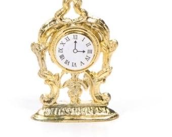 Dollhouse Miniature Gold Mantle Clock 1:12 Scale
