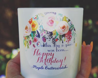 MAPLE BUTTERSCOTCH/Scented Soy Candle/Happy Birthday!