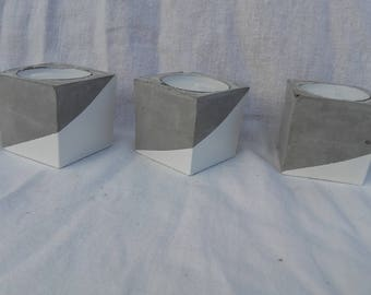 White concrete cube candle holder graphic