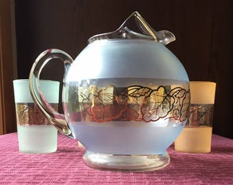 Vintage Frosted Glass Juice Set with Gold Leaf Design Pitcher and 4 Glasses