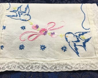 Vintage Linen Table Runner Dresser Scarf with Cute little Blue Birds and Flowers Lace Trim