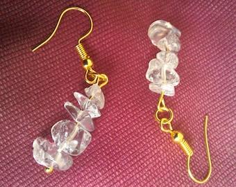 Gold plated Clear Rock Quartz chip dangle earrings