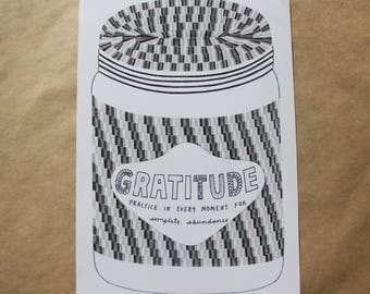 "The Gratitude Jar (B&W) // A5 // ""Limitless"" print series"