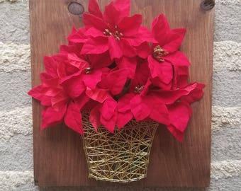 Christmas poinsettia string art
