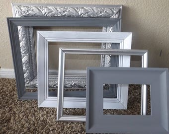 Set of 5 Gallery Wall Frames | Gallery Wall Set | Grey, Silver, & White Frame Set | Open Back Frame Set | Wall Set in Grey and Silver| Decor