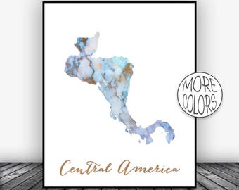 Central America Map Wall Art Print, Central America Art, Office Prints, Housewarming Gift, Watercolor Art, ArtPrintsZoe