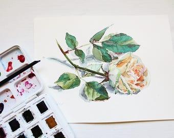 Watercolor Rose original painting original watercolor flower small painting original painting wall art wall decor affordable art gift
