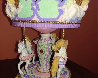 Musical Angels and Horse Carousel Merry go Round, Cherubs, Works, Well, Vintage 1980's