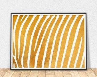 Gold Zebra Print - Modern Wall Art, Zebra Stripes Poster, Gold Wall Decor, White And Gold, Gold Foil Print, Printable Art, Zebra Wall Art
