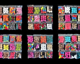 50 X Bags: Mixed Colour/Shape/Size/Style Wooden Beads Jewellery Making Fashion