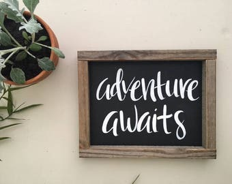 Adventure Awaits | Hand Lettering on Wood