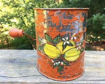 Decorative Flour Sifter - Orange Flour Sifter -  Bromwell's - Measuring Sifter - Painted with Yellow Lemons - Food Photography Prop