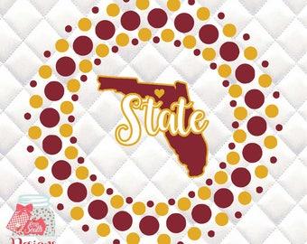Florida State  - FSU Circle SVG, Silhouette studio bundle - design download