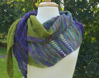 Asymmetrical Hand crocheted scarf/wrap