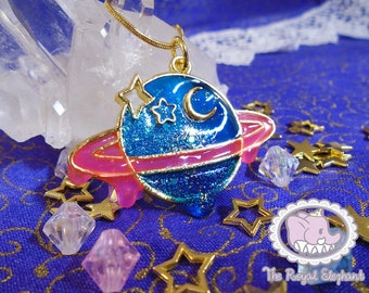 Drippy Ringed Planet Charm
