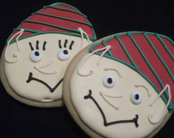 Elf cookies | Custom decorated Christmas cookies| Boy and girl elves | North Pole Santa's helpers