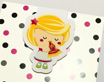 Magnetic Bookmark. Girl Eating Pizza Bookmark for books, planners and notebooks