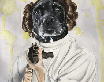 Custom Dog Character Painting-Dog Portraits-Custom Watercolor Pet Portrait-Christmas Gift-Pet Portrait-princess leia