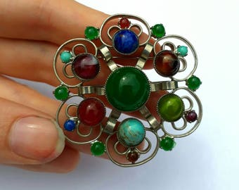multicolour faux gemstone scottish brooch vintage pebble pin in white metal