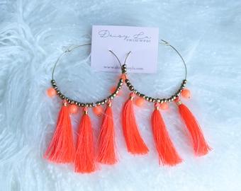Neon Tassel Hoop Earrings