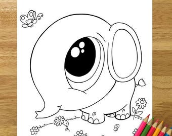 cute baby elephant coloring page downloadable pdf file - Cute Baby Elephant Coloring Pages