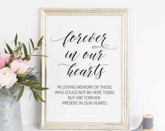 Printable. Forever in our hearts, In loving memory sign, memorial table sign, in memory, memorial printable, memory printable,00L3