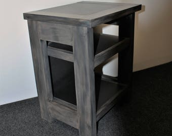 End Table - Nightstand - Weathered Brown Wood