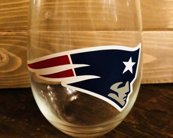 Patriots stemless football wine glass