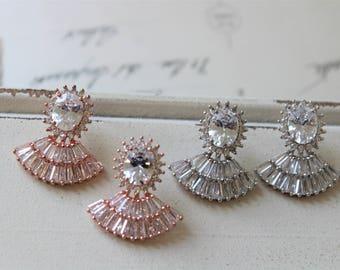 Art Deco Earrings , Bridal Earrings, Wedding Earrings, Vintage Style Zircon Earrings,  Crystal   Earrings,  Stud Earrings , Bridal Jewelry