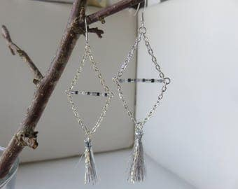 """Khysia"" diamond-shaped earrings, beads Miyuki Delica 11/0 and tassel"