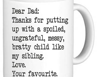 Dear Dad Love Your Favourite Funny Novelty Mug Coffee Tea Cup Gift Secret Santa Xmas Present Tumblr Pintrest Trend Mug