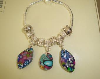 polymer bead and silver snake bracelet pandora style