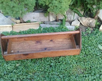 Vintage Wooden Tool Box/Handcrafted Bin/Tackle Box/Garage Organization/Caddy/Handy/Simple/Handle