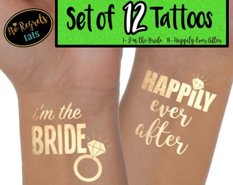 Happily Ever After Tattoos for bachelorette party / Bachelorette tattoo / Gold foil tattoo / Bridesmaid favors