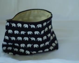 Zippered Elephant Project Bag, Makeup Bag