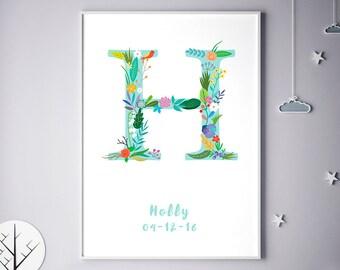 Floral Name Initial, Flower Monogram, Girl Bedroom, Boy, Boy Bedroom, Hana, Hadley, Harlow, Hayley, Hermione, Harley, Birthday